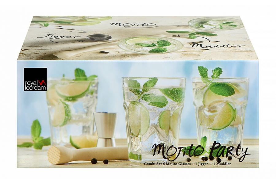 Royal Leerdam 6 Mojitoglazen, Jigger en Muddler Time to Party 40cl